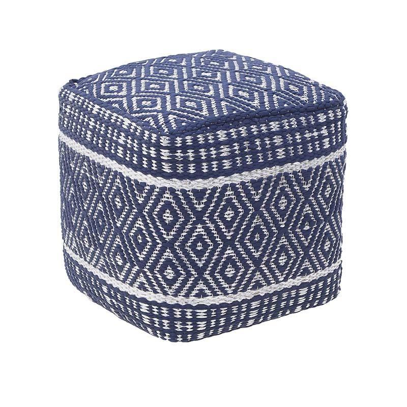 Πουφ υφασμάτινο σε μπλε-λευκό χρώμα 40x40x40
