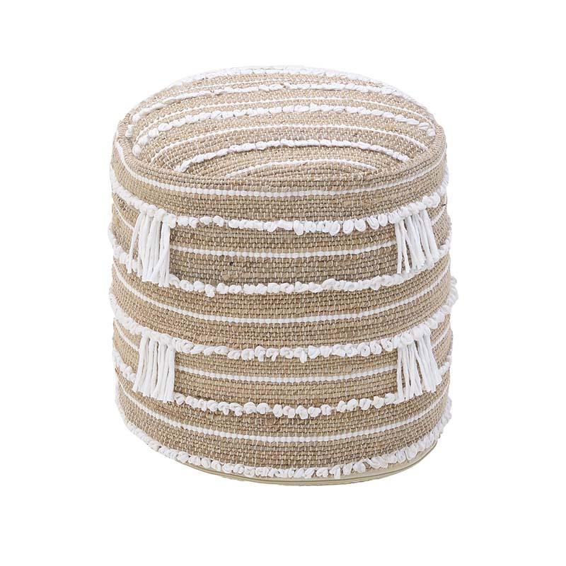 Πουφ υφασμάτινο σε μπεζ-λευκό χρώμα 40x40x40