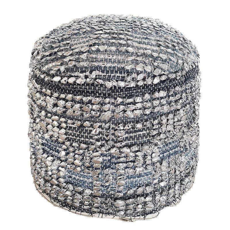 Πουφ υφασμάτινο σε γκρι-μπλε χρώμα 45x45x35
