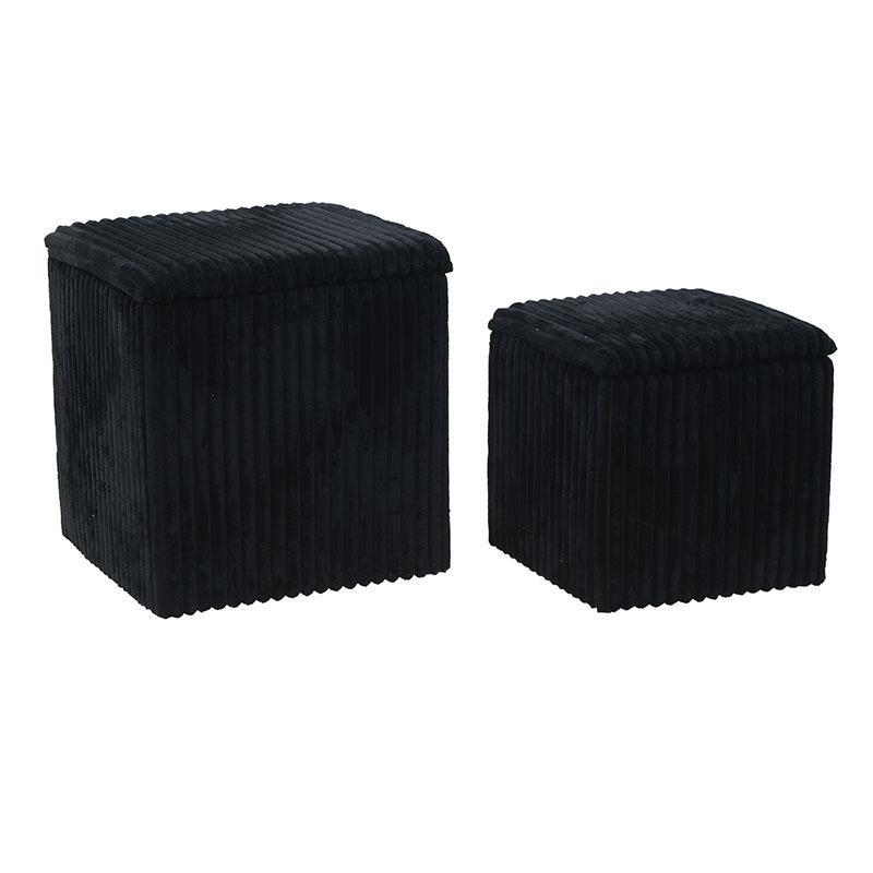 Σετ σκαμπώ 2τμχ με αποθηκευτικό χώρο από κοτλέ σε μαύρο χρώμα 41x41x45