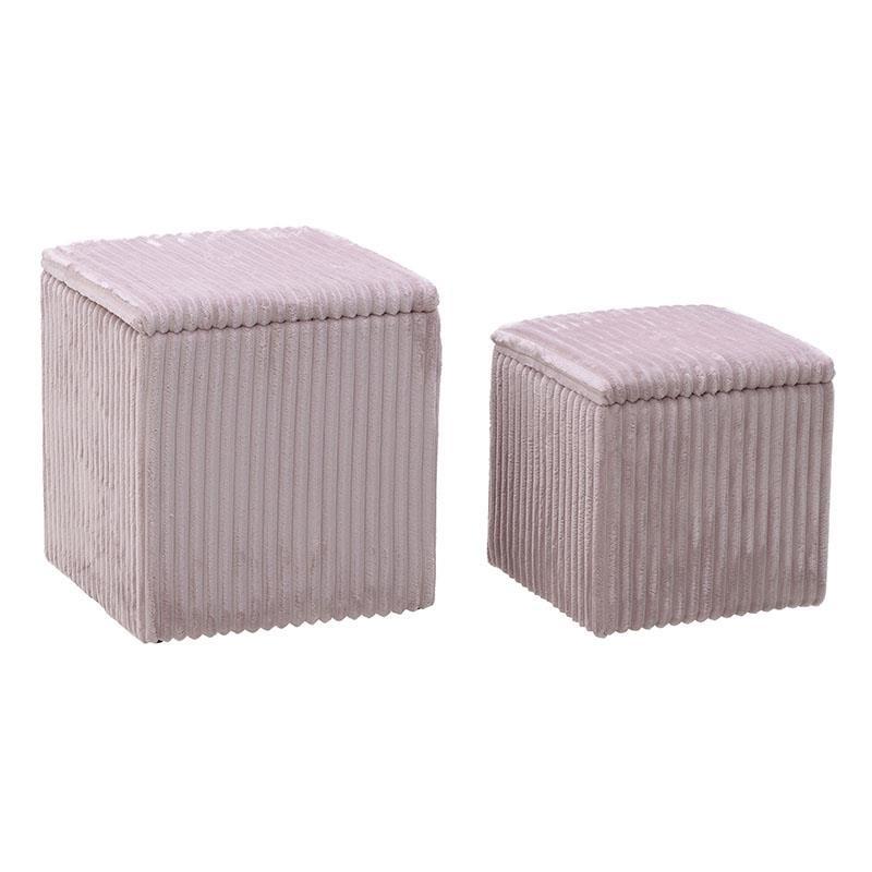 Σετ σκαμπώ 2τμχ με αποθηκευτικό χώρο από κοτλέ σε ροζ χρώμα 41x41x45