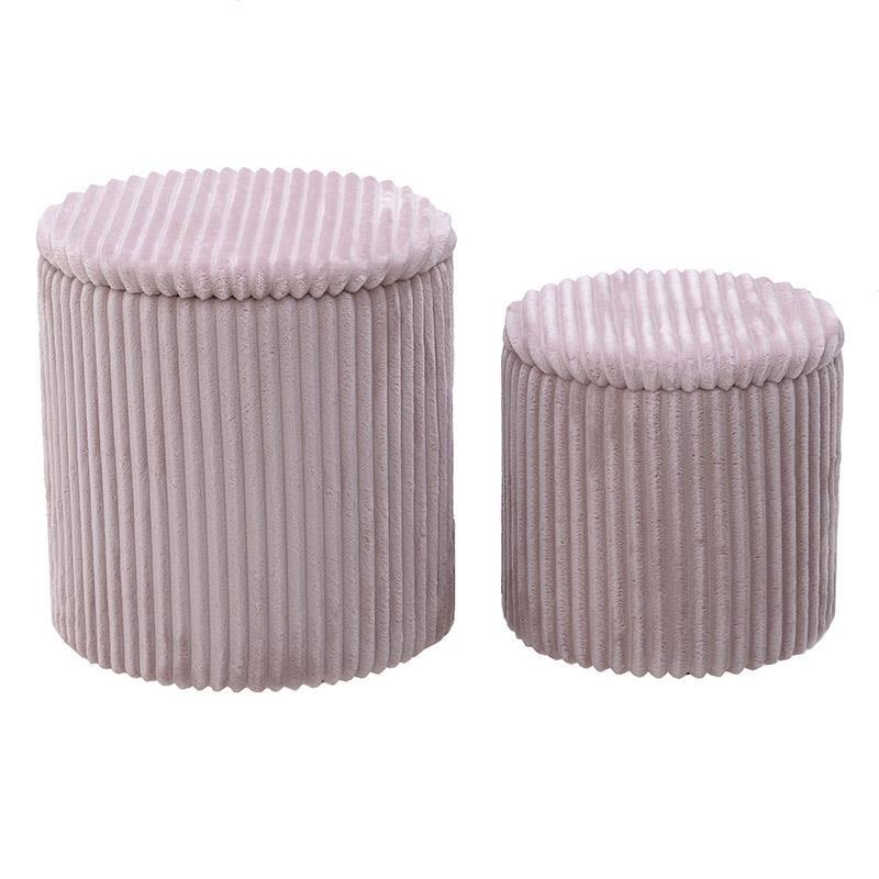 Σετ σκαμπώ 2τμχ με αποθηκευτικό χώρο από κοτλέ σε ροζ χρώμα Φ41×45