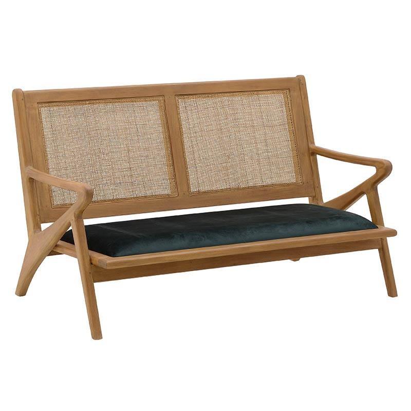 Καναπές διθέσιος βελούδινος σε χρώμα φυσικό/πράσινο σκούρο