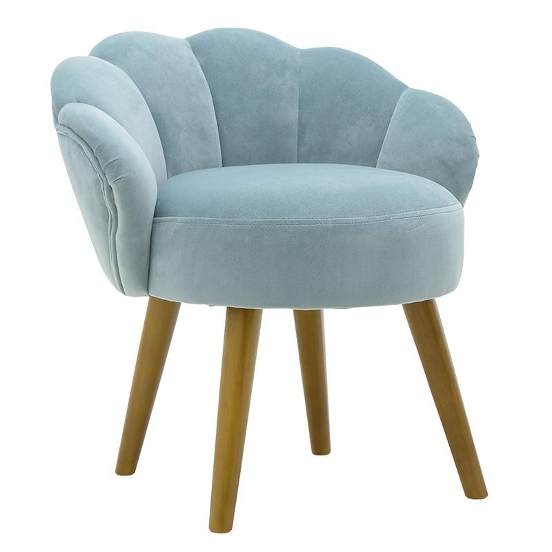 Σκαμπώ βελούδινο με ξύλινα πόδια σε χρώμα γαλάζιο 55x53x61