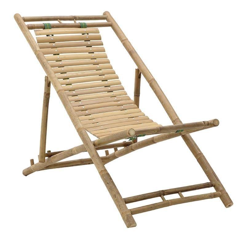 Πολυθρόνα παραλίας πτυσσόμενη από μπαμπού σε φυσικό χρώμα 113x60x75