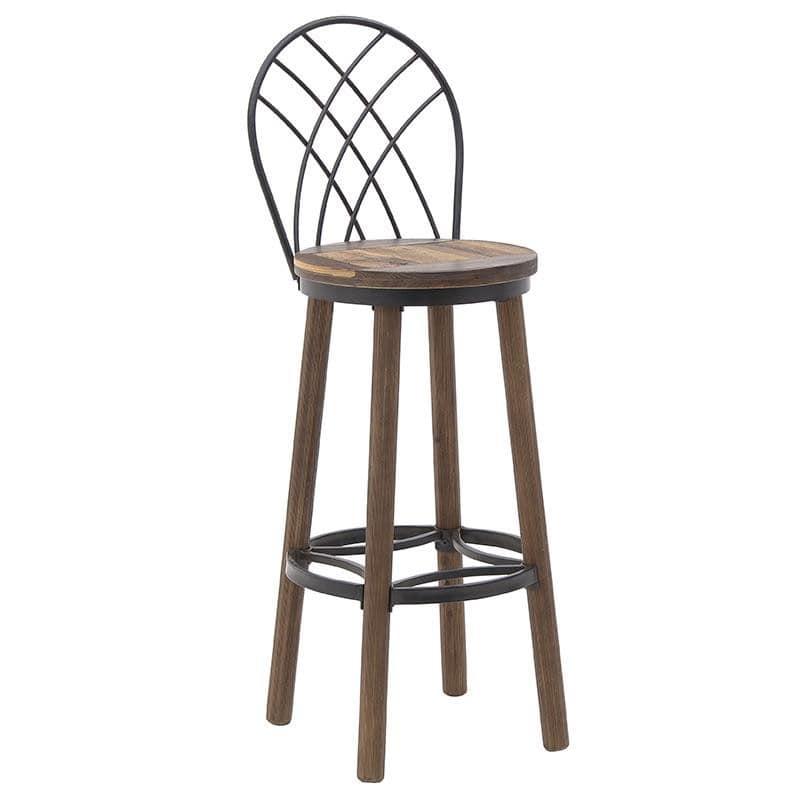 Σκαμπώ μπαρ από ξύλο-μέταλλο σε καφέ-μαύρο χρώμα Φ36×110