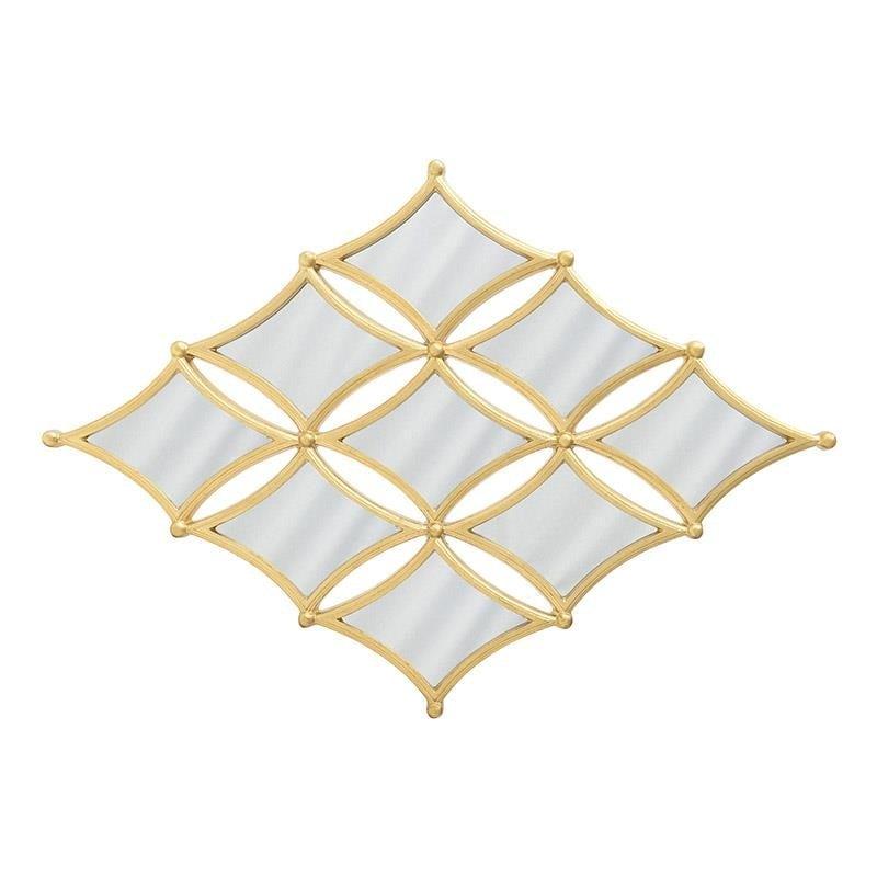 """Καθρέπτης τοίχου """"ΡΟΜΒΟΣ"""" από polyresin σε χρυσό χρώμα 100x5x142"""