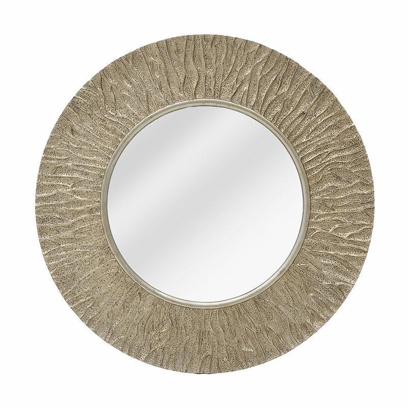Καθρέπτης τοίχου από polyresin σε αντικέ χρυσό χρώμα Φ100