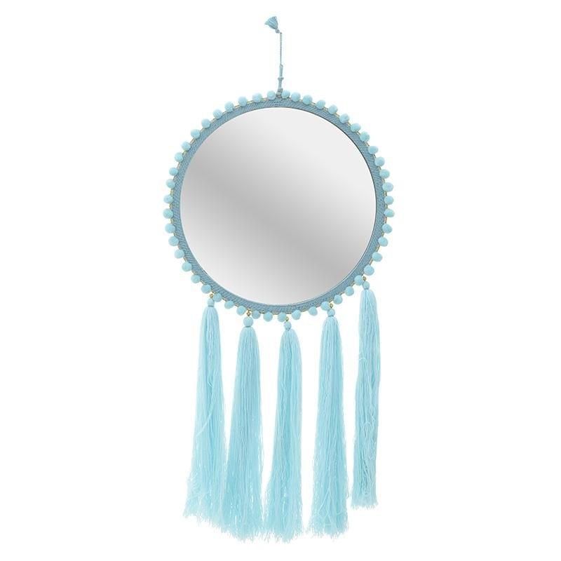 Στρόγγυλος καθρέπτης τοίχου υφασμάτινος σε γαλάζιο χρώμα με κρόσσια Φ45