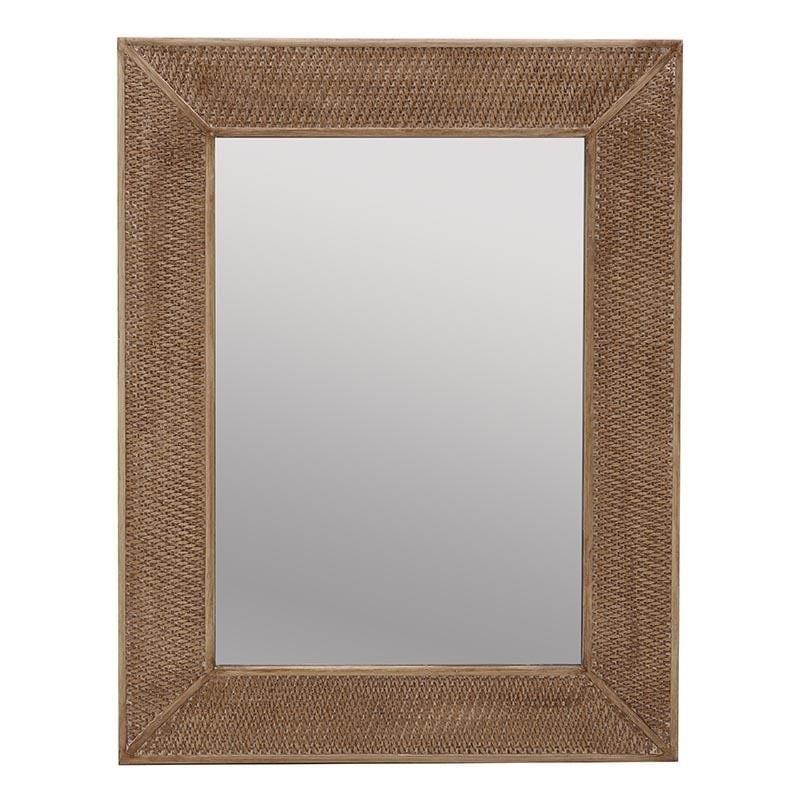 Καθρέπτης τοίχου ξύλινος σε φυσικό χρώμα 70x3x90