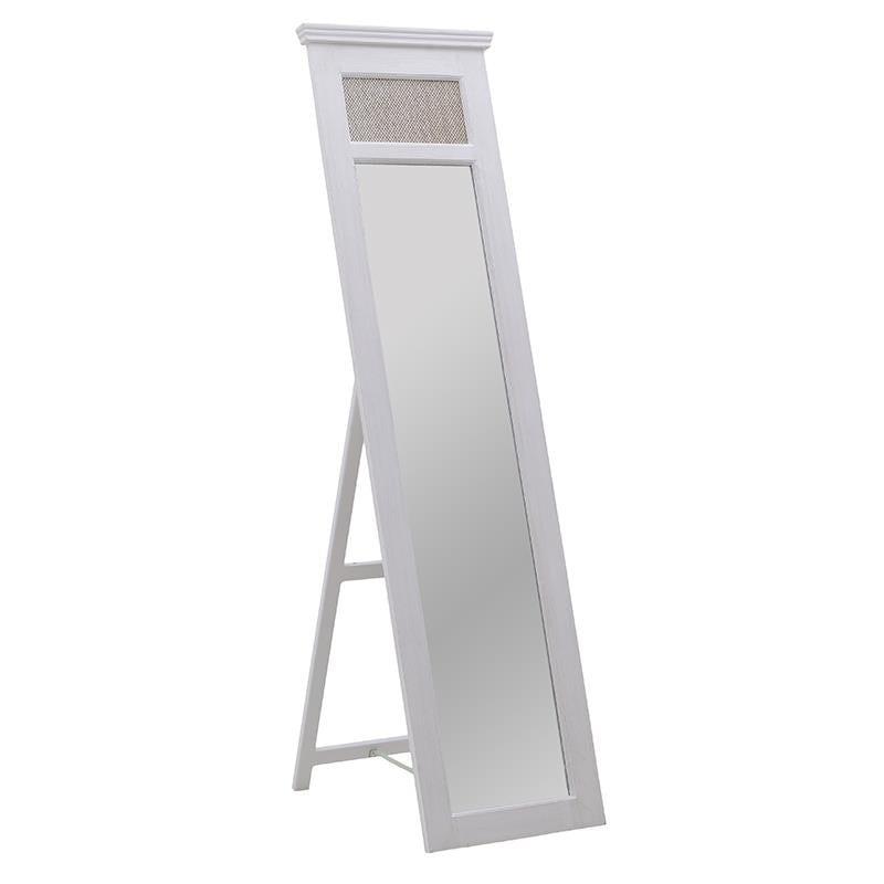 Επιδαπέδιος καθρέπτης ξύλινος σε εκρού χρώμα 50x5x186