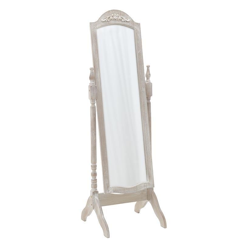 Επιδαπέδιος καθρέπτης ξύλινος σε καφέ ριγέ χρώμα 50x51x155