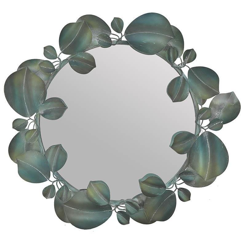 """Καθρέπτης μεταλλικός """"ΦΥΛΛΟ"""" σε πράσινο χρώμα Φ84×6"""