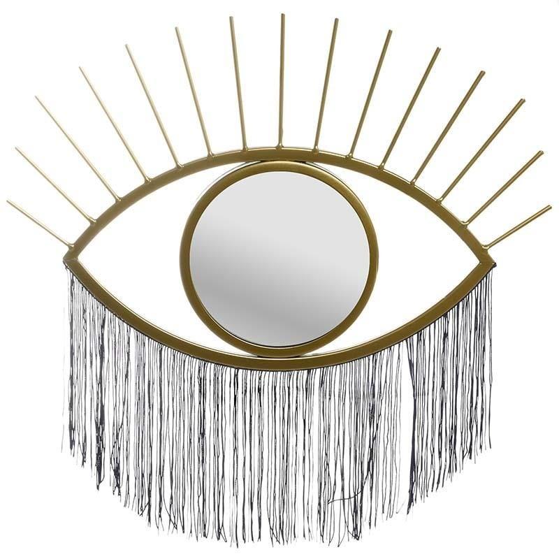 """Καθρέπτης τοίχου """"ΜΑΤΙ"""" μεταλλικός σε χρυσό χρώμα 43x2x27"""