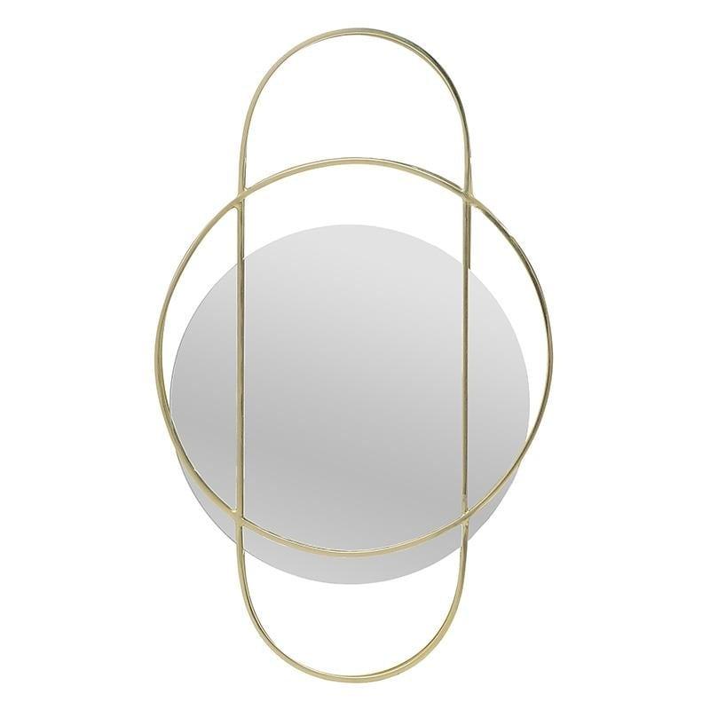 Καθρέπτης τοίχου μεταλλικός σε χρυσό χρώμα 34x13x48