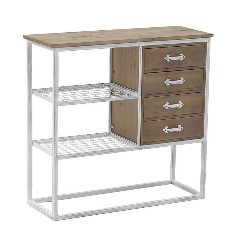 Συρταριέρα/ραφιέρα από μέταλλο/ξύλο σε χρώμα λευκό/φυσικό-μπεζ 84x30x80