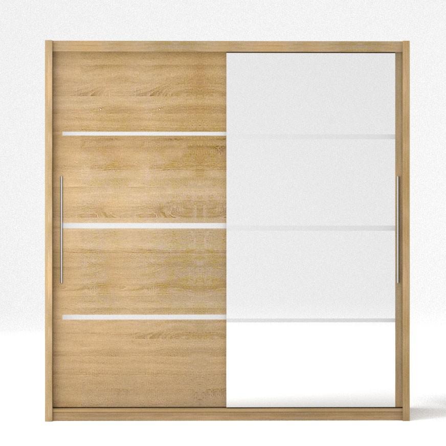 """Ντουλάπα """"ILONA"""" δίφυλλη με συρόμενες πόρτες και καθρέφτη, χρώματος δρυς 205x61x215"""