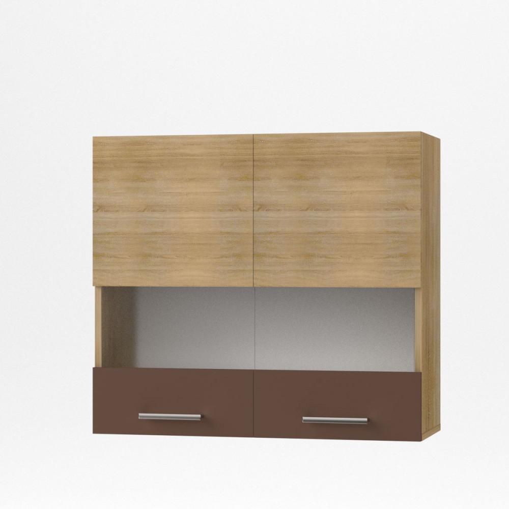 """Πάνω ντουλάπι κουζίνας """"ALINA"""" με τζάμι σε χρώμα σονόμα-μόκα 80×30,5×71,8"""