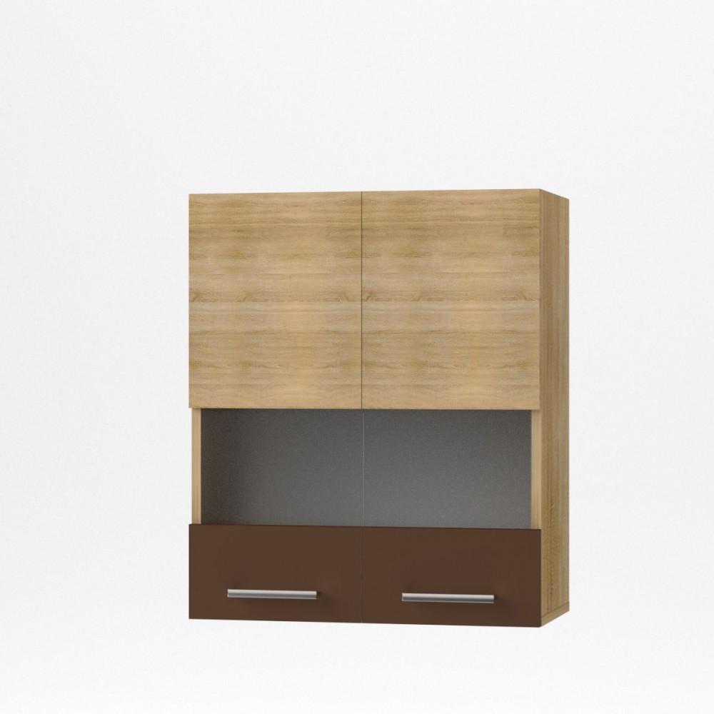 """Πάνω ντουλάπι κουζίνας """"ALINA"""" με τζάμι σε χρώμα σονόμα-μόκα 60×30.5×71.8"""