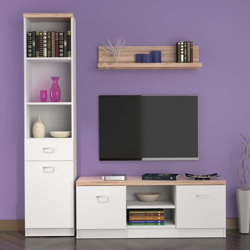 """Σύνθεση TV """"TOP MIX"""" σε χρώμα λευκό-σόνομα 160x42x183"""