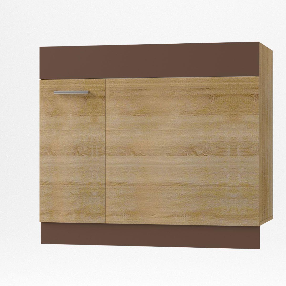 """Ντουλάπι κάτω γωνίας """"ALINA"""" σε χρώμα σονόμα-μόκα 100×44.5×85"""