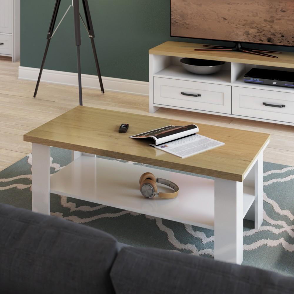 """Τραπεζάκι σαλονιού """"VERNE"""" σε χρώμα λευκό-φυσικό δρυς 110x60x46.4"""