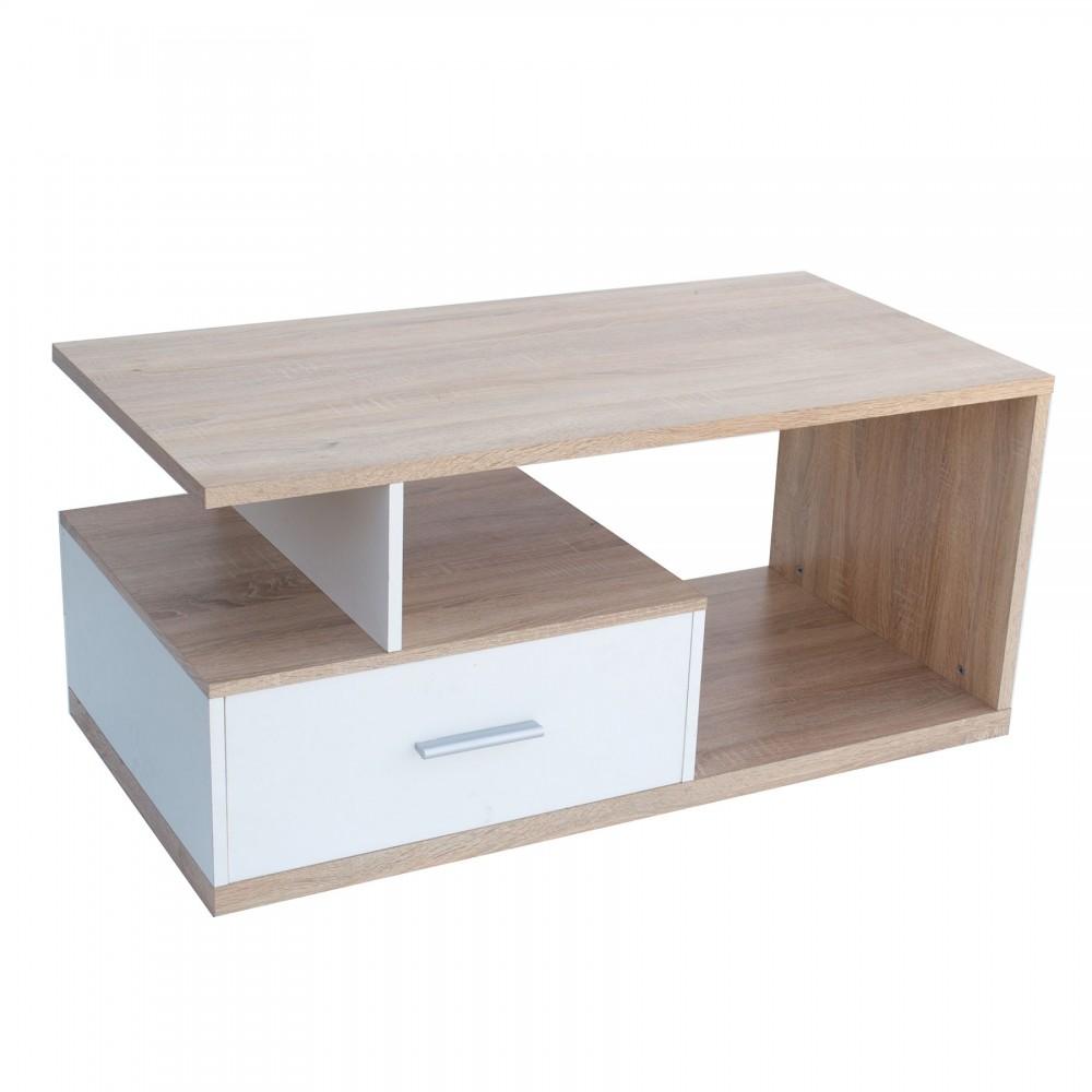 """Τραπέζι σαλονιού """"SIA"""" σε χρώμα λευκό-σονόμα 110x55x50"""