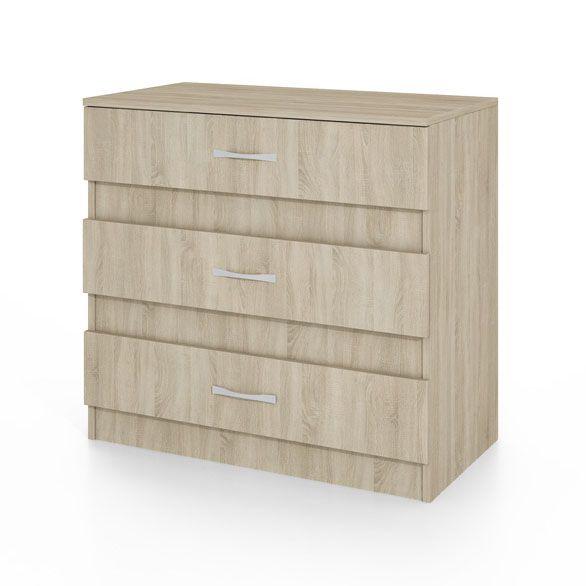 """Συρταριέρα """"CITY3001"""" με τρία συρτάρια σε χρώμα σονόμα 80x43,5x76"""