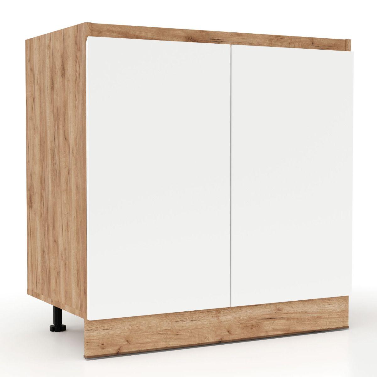 """Επιδαπέδιο ντουλάπι νεροχύτη """"SOFT"""" σε λευκό-φυσικό χρώμα 80×46,5×81,5"""