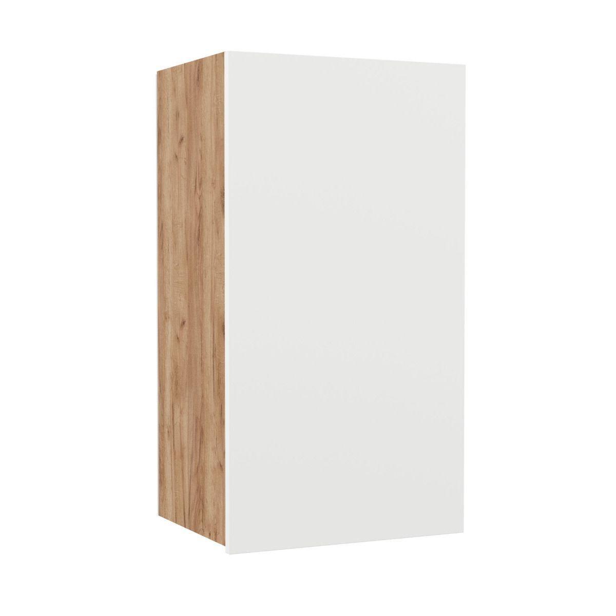 """Επιτοίχιο ντουλάπι κουζίνας """"SOFT"""" σε λευκό-φυσικό χρώμα 40×30,5×73"""