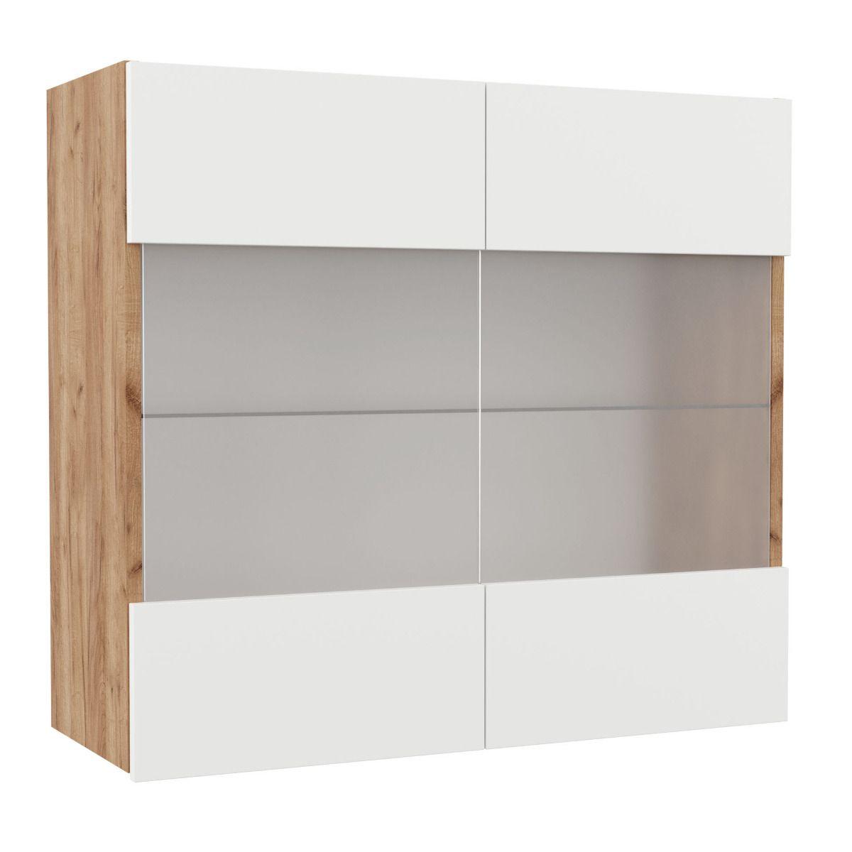 """Επιτοίχιο ντουλάπι κουζίνας """"SOFT"""" με τζάμι σε λευκό-φυσικό χρώμα 80×30,5×73"""