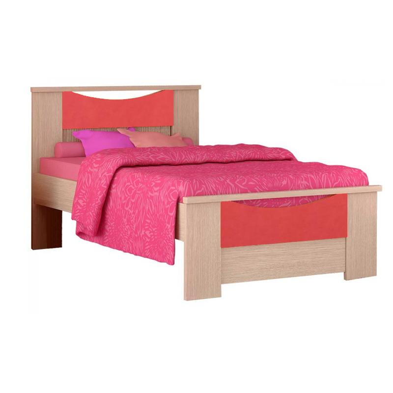 """Παιδικό κρεβάτι """"ΧΑΜΟΓΕΛΟ"""" ημίδιπλο σε χρώμα δρυς-κόκκινο 110x190"""