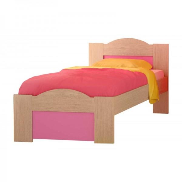 """Παιδικό κρεβάτι """"ΚΥΜΑ"""" ημίδιπλο σε χρώμα δρυς-ροζ 110x190"""