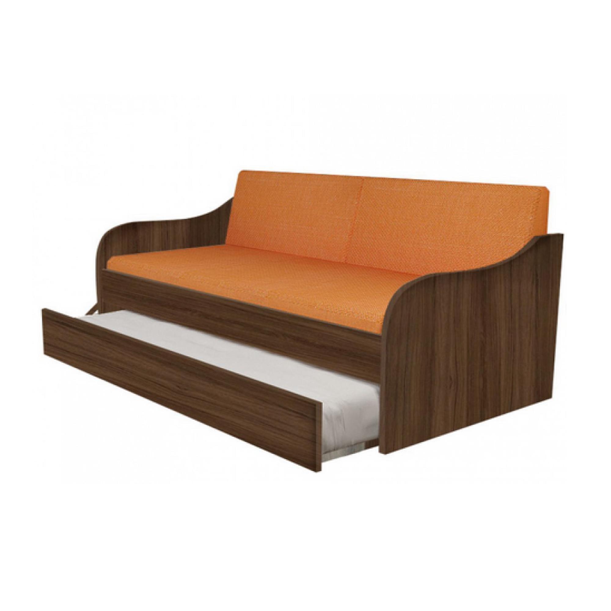 """Κρεβάτι-καναπές """"SILKY"""" με συρόμενο κρεβάτι σε χρώμα καρυδί 80x190"""
