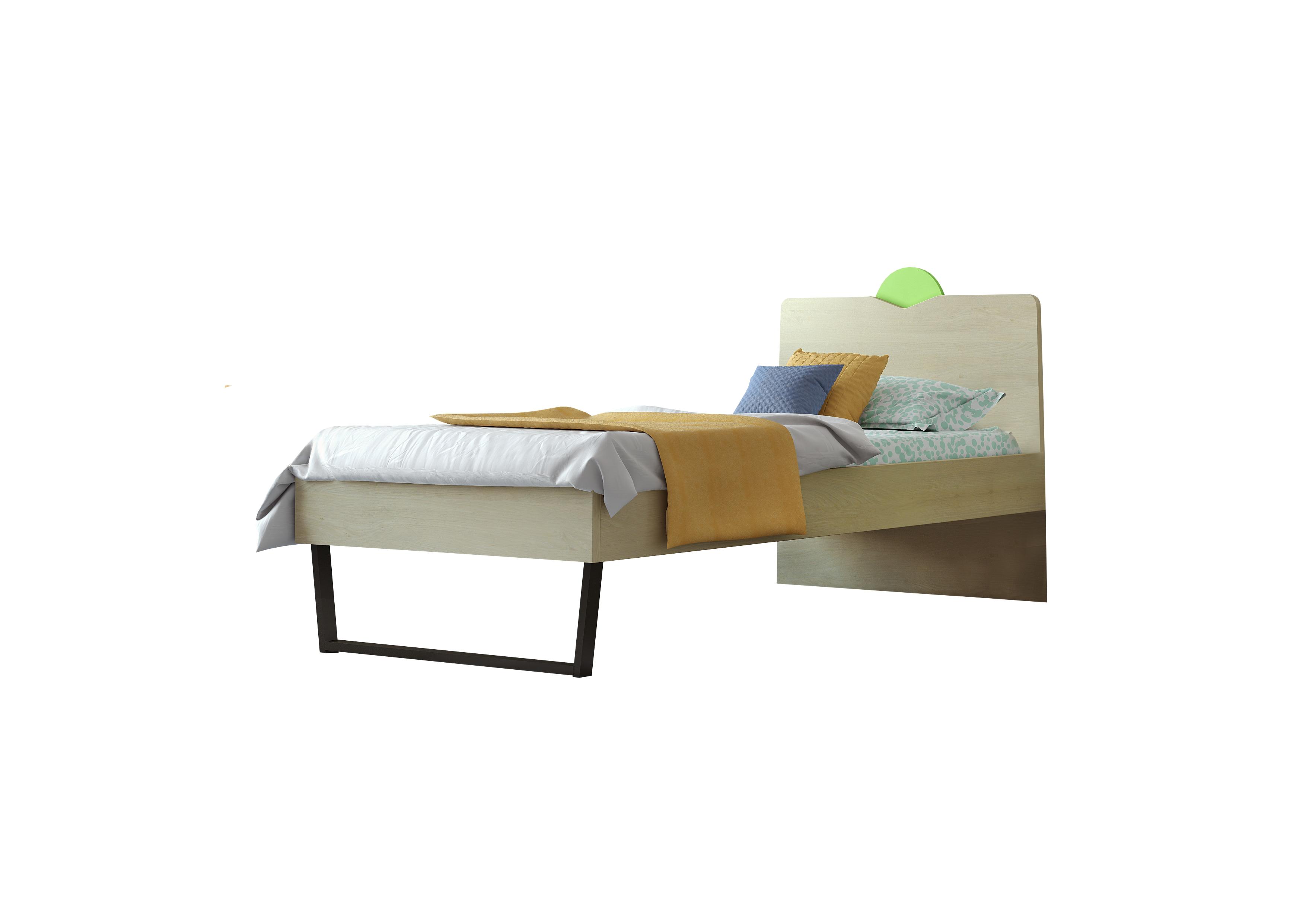"""Παιδικό κρεβάτι """"ΑΝΑΤΟΛΗ"""" μονό σε χρώμα δρυς-λαχανί 90x190"""