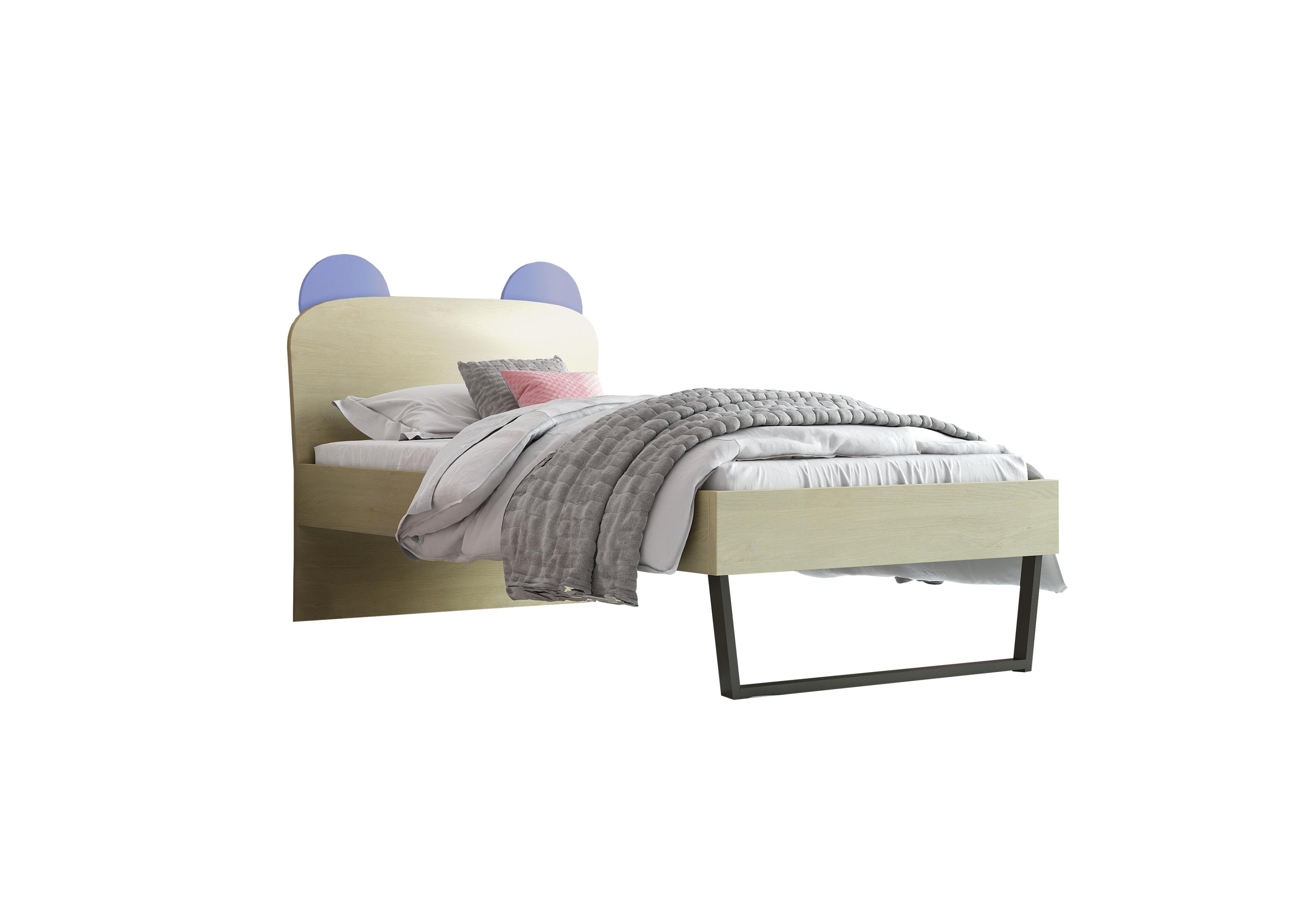 """Παιδικό κρεβάτι """"ΚΟΡΩΝΑ"""" μονό σε χρώμα δρυς-σιελ 90x190"""