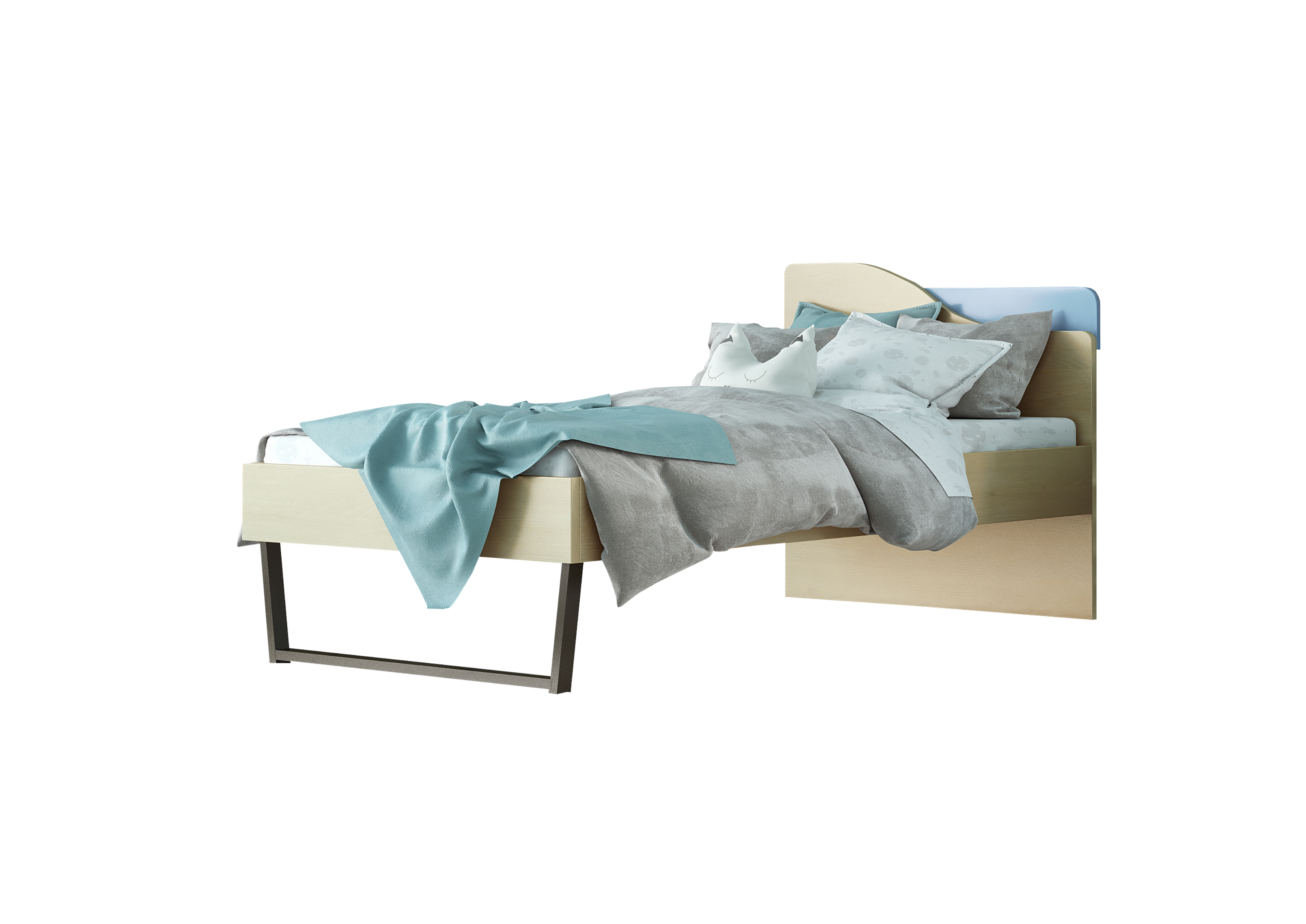 """Παιδικό κρεβάτι """"ΤΟΞΟ"""" μονό σε χρώμα δρυς-σιελ 90x190"""