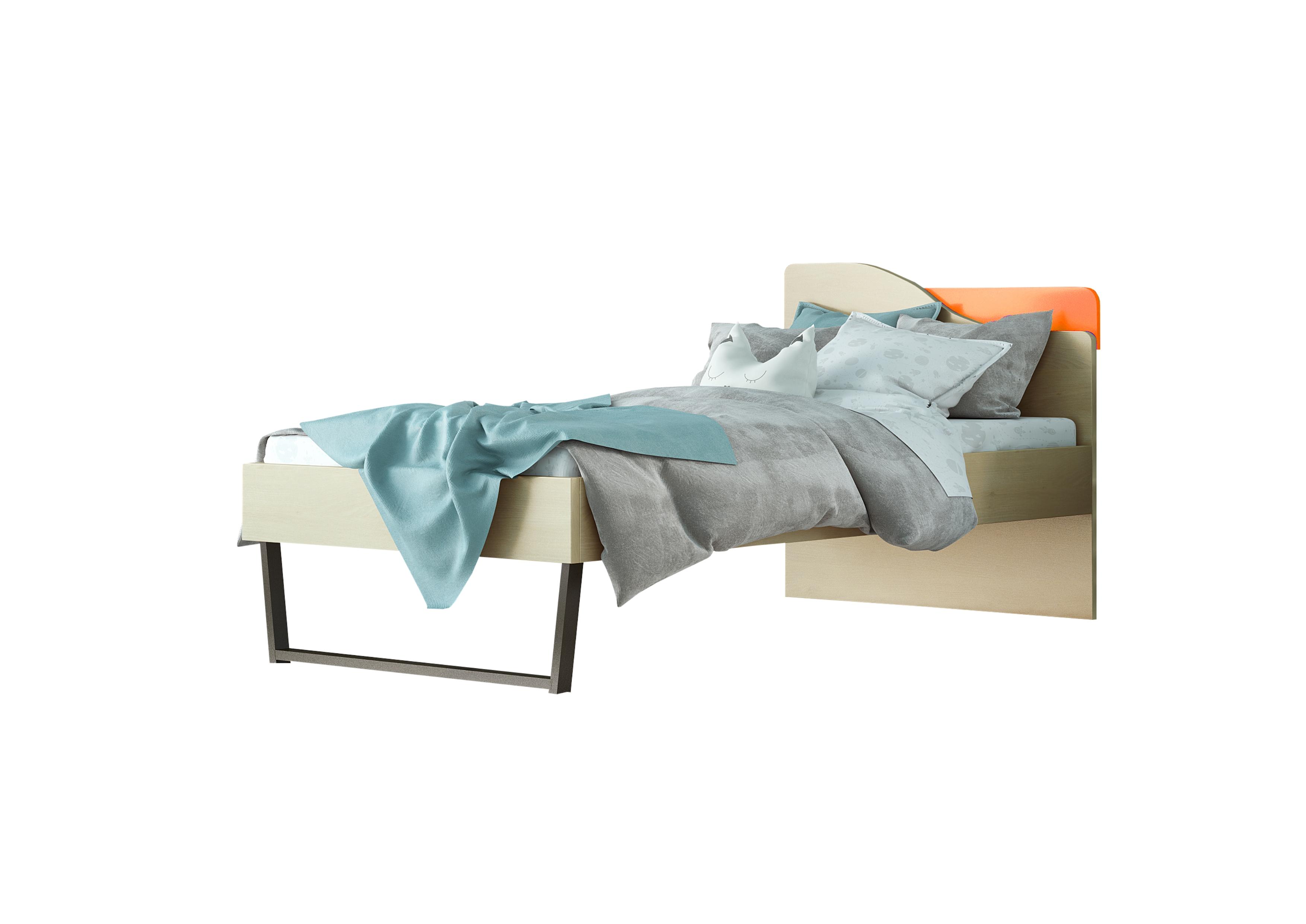 """Παιδικό κρεβάτι """"ΤΟΞΟ"""" μονό σε χρώμα δρυς-κόκκινο 90x190"""