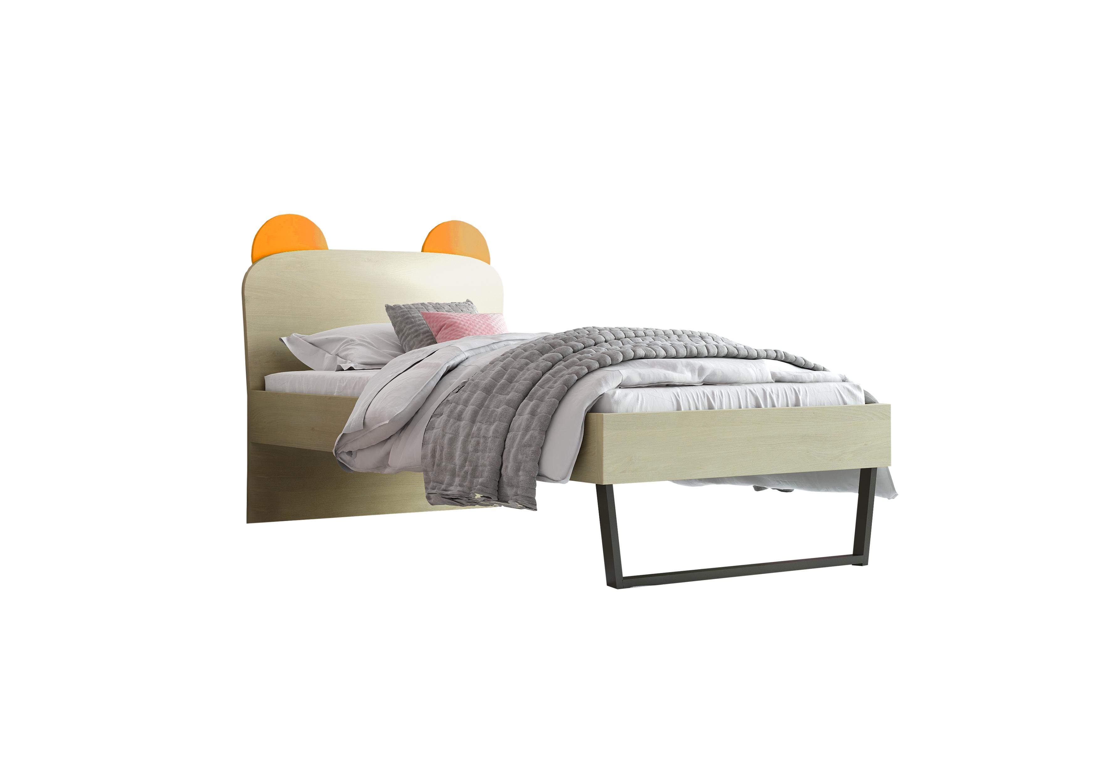 """Παιδικό κρεβάτι """"ΚΟΡΩΝΑ"""" μονό σε χρώμα δρυς-κόκκινο 90x190"""