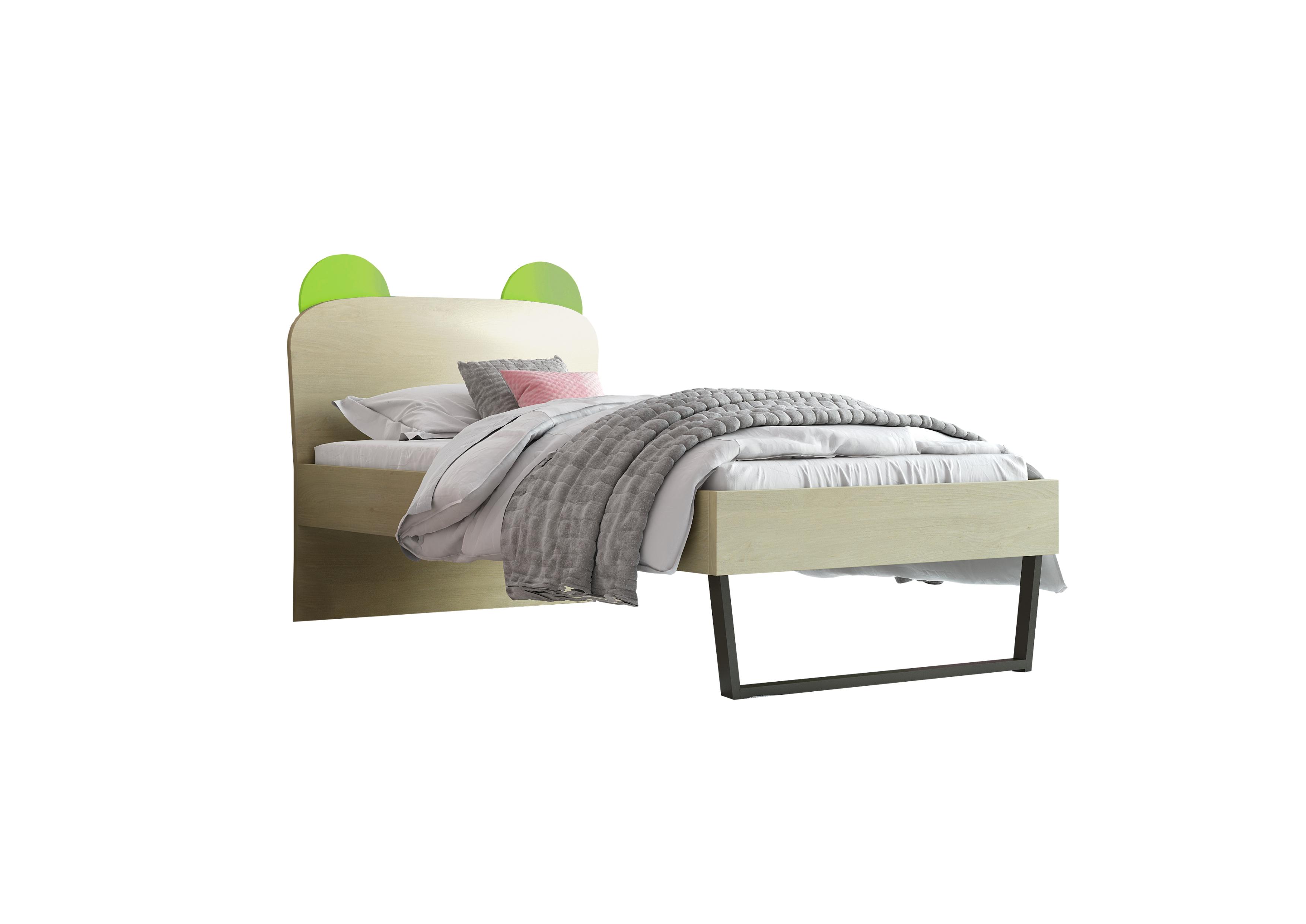 """Παιδικό κρεβάτι """"ΚΟΡΩΝΑ"""" μονό σε χρώμα δρυς-λαχανί 90x190"""