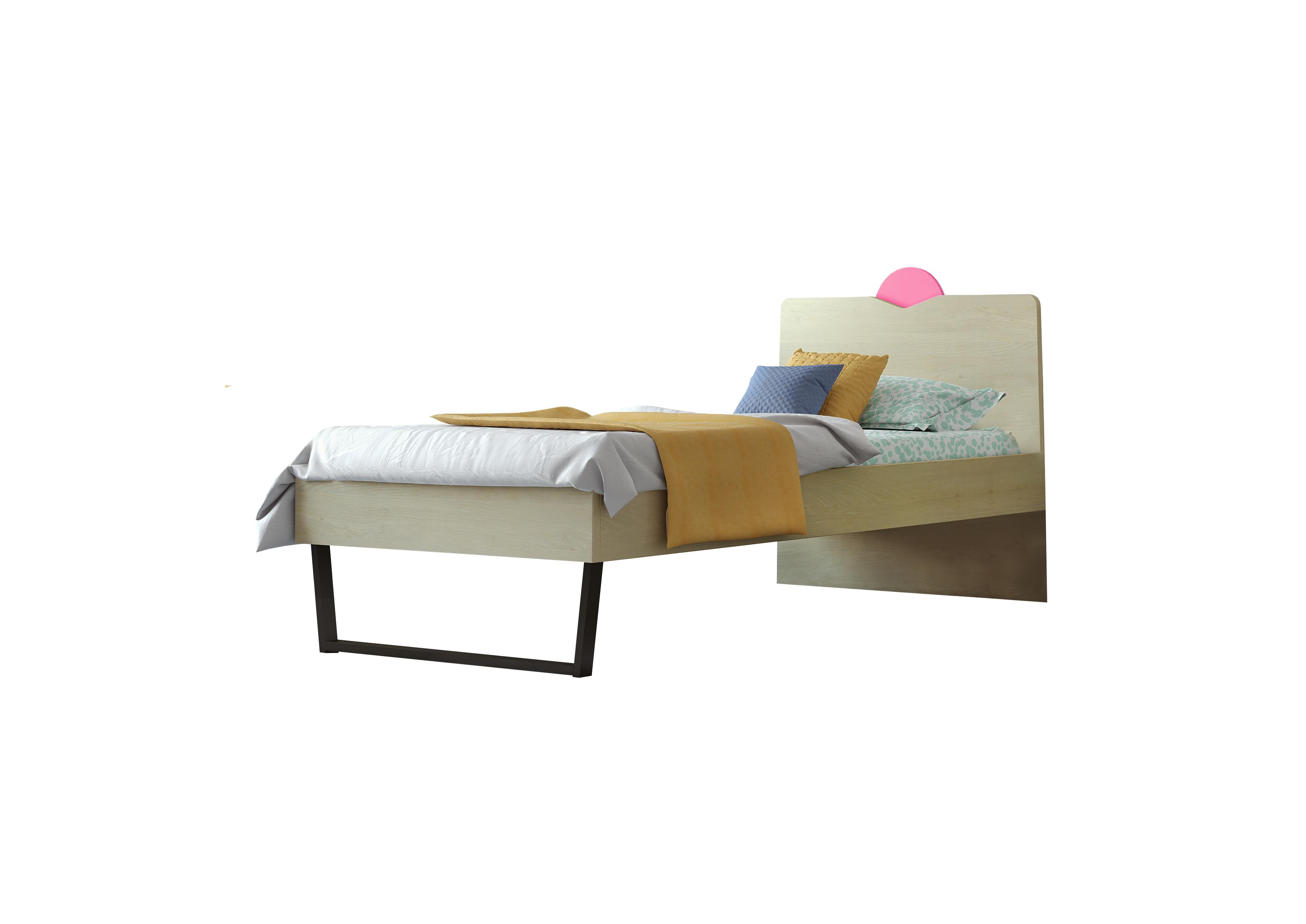 """Παιδικό κρεβάτι """"ΑΝΑΤΟΛΗ"""" ημίδιπλο σε χρώμα δρυς-ροζ 110x190"""