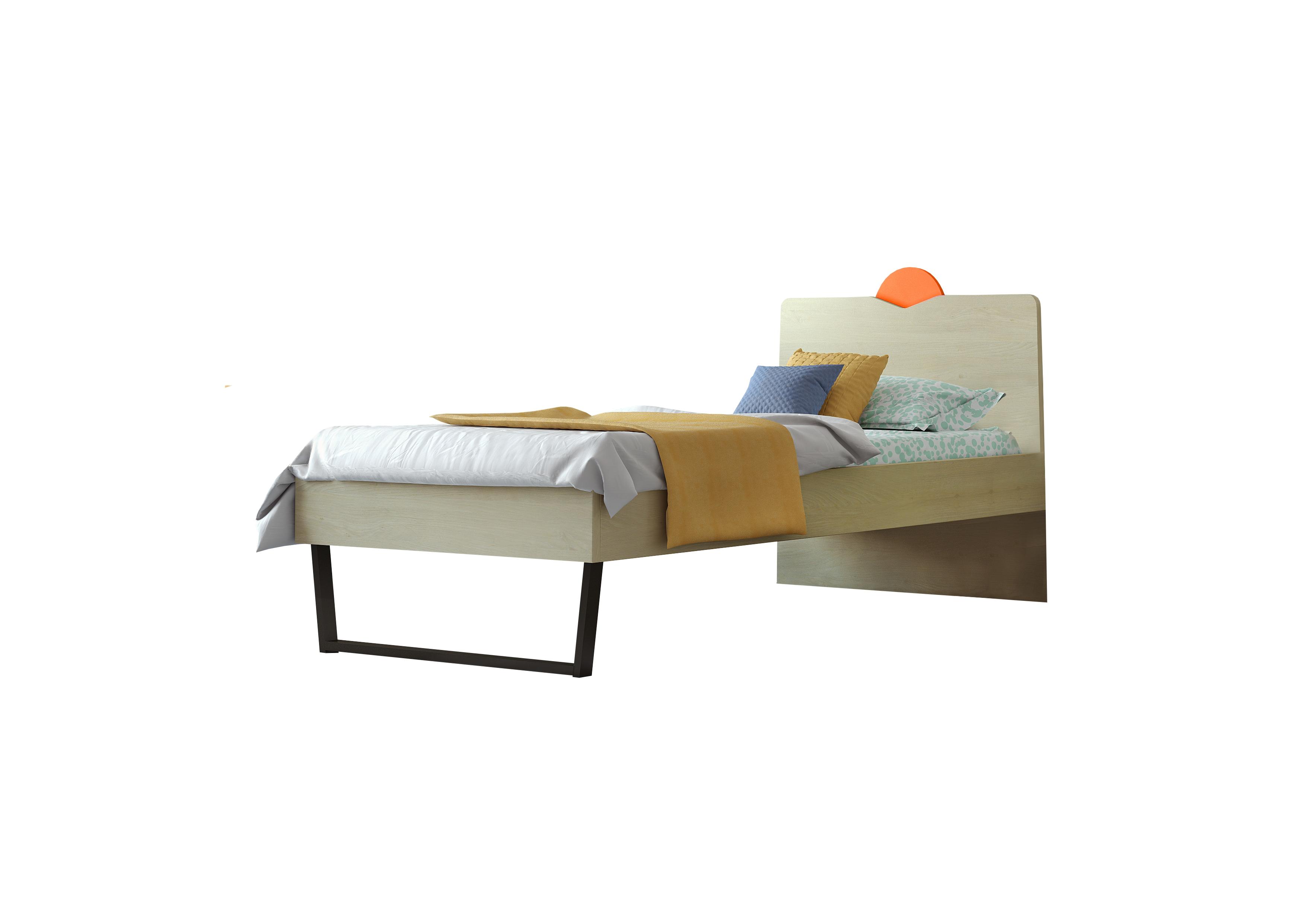 """Παιδικό κρεβάτι """"ΑΝΑΤΟΛΗ"""" ημίδιπλο σε χρώμα δρυς-κόκκινο 110x190"""