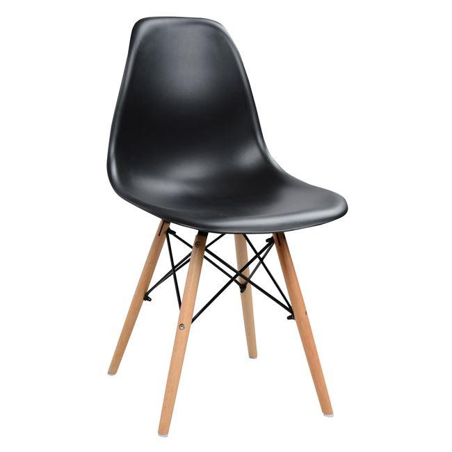 """Καρέκλα """"TWIST"""" από PP/ξύλο σε χρώμα μαύρο 46,5x53x82"""
