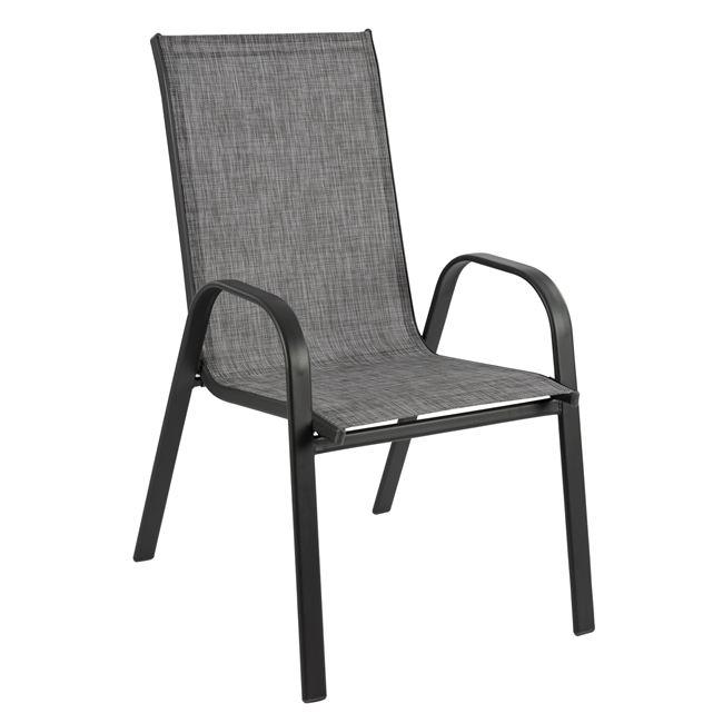 """Πολυθρόνα """"LEON"""" από μέταλλο/textiline σε χρώμα γκρι 54x70x93"""