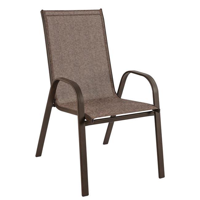 """Πολυθρόνα """"LEON"""" από μέταλλο/textiline σε χρώμα καφέ 54x70x93"""