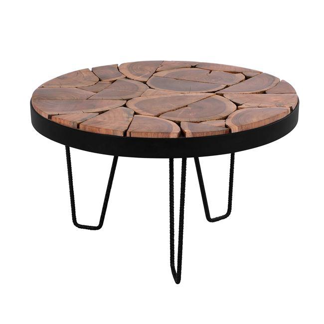 Τραπέζι σαλονιού ξύλινο σε χρώμα μαύρο/φυσικό Φ73×45