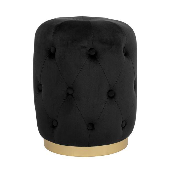 """Σκαμπό """"TORRIE"""" βελούδινο σε μαύρο χρώμα Φ37x46"""