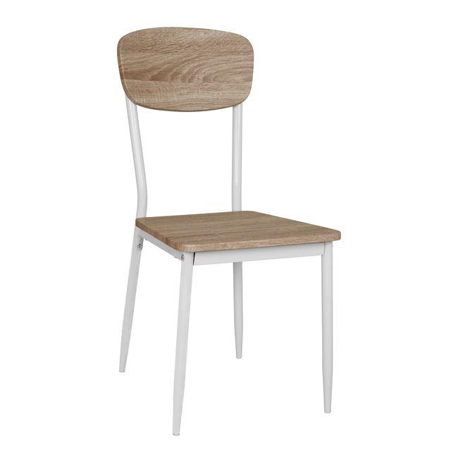 Καρέκλα μεταλλική σε χρώμα σονόμα/λευκό 39,5×49,5×87