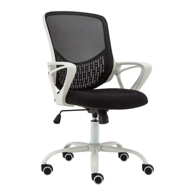 Πολυθρόνα γραφείου υφασμάτινη σε χρώμα μαύρo/λευκό 57x54x94