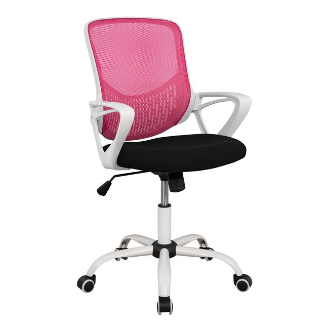 Πολυθρόνα γραφείου υφασμάτινη σε χρώμα ροζ/λευκό 57x54x94
